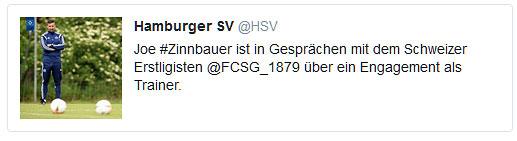 Der HSV bestätigt Verhandlungen des U23 Trainers mit dem Schweizer Erstligisten auf Twitter.