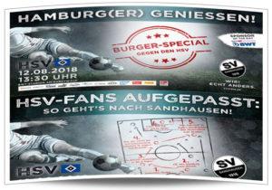 Plakataktion des SV Sandhausen in Hamburg: Burgeressen und Wegbeschreibung
