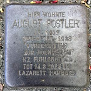 Stolperstein für den Rechtsaußen August Postler in Hamburg-Rothenburgsort